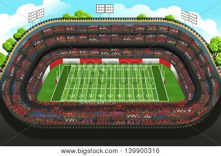 A vector illustration of background of an empty American football stadium