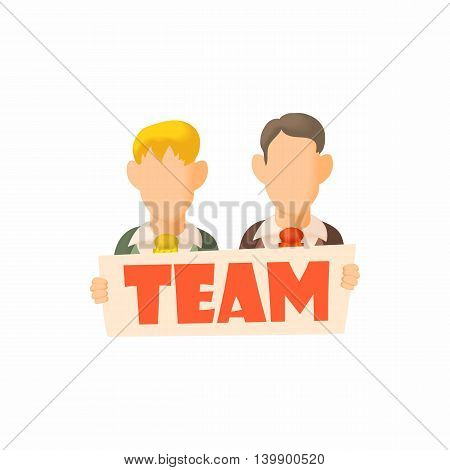 Men holding sign Team icon in cartoon style isolated on white background. People symbol
