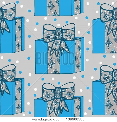 Seamless with gift box with ribbon and bow with blue and white circle on the gray background