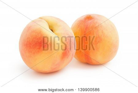 Peaches. Ripe fresh peaches isolated on white background