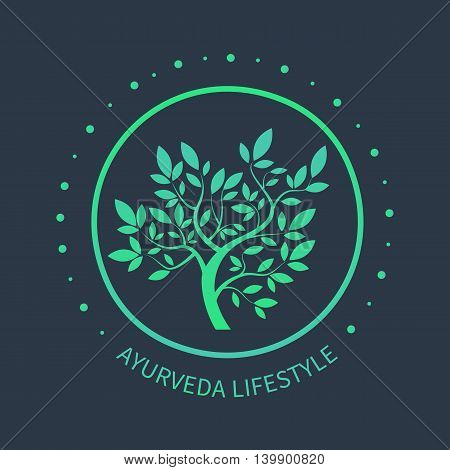 TVector tree logo. Ayurvedic symbol on dark beckground. Ayurvedic emblem for alternative spa design