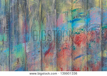 Old wooden planks painted with paint cracked by a rustic background