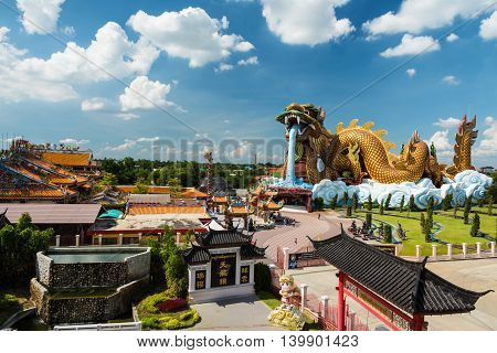 Aerial View Of   Suphanburi City Pillar Shrine