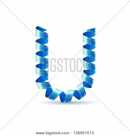 Letter U made of blue curled shiny ribbon