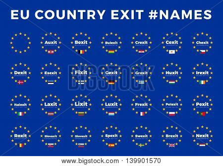 Names for EU exits for all Members. Europe Union country Exit Names. Brexit, Frexit, Italexit, Spexit. Vector exit names for magazines, banners and newspapers.