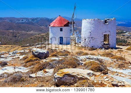 Traditional  Greece - old windmills in Amorgos, Cyclades