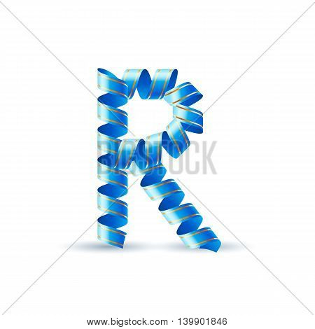 Letter R made of blue curled shiny ribbon