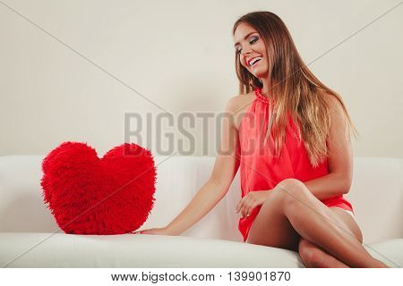 Woman With Heart Shape Pillow. Valentines Day Love