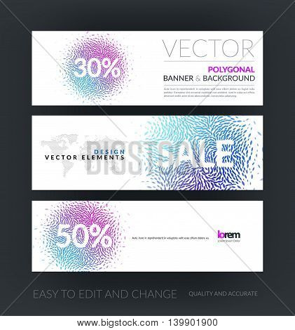 Vector set of modern horizontal website banners with sale beautiful design element for template with moving particles, swirl explosion effect for shopping, advertisement, special offer. Web headers.