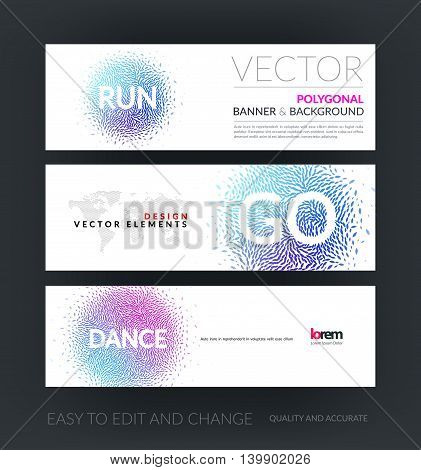 Vector set of modern horizontal website banners with dance and run beautiful design element for template with moving particles, explosion effect for sport, fitness, party. Web headers.