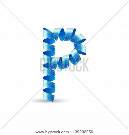 Letter P made of blue curled shiny ribbon