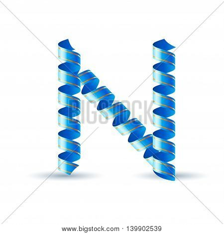 Letter N made of blue curled shiny ribbon