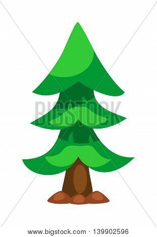 Christmas tree isolated. New Year tree vector illustration. Wild spruce silhouette. Green spruce fir-tree isolated on white. Green forest pine tree
