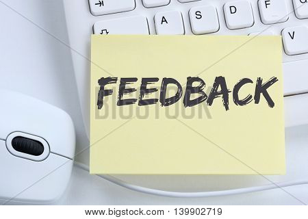 Feedback Contact Customer Service Opinion Survey Business Concept Review Office