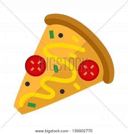 Pizza flat slice isolated on white background. Pizza food silhouette. Restaurant menu illustration isolated. Pizza vector collection isolated on white.