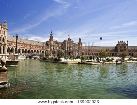 SEVILLE, SPAIN - September 13, 2015: View of the water canal at the Plaza de Espana (Spain Square) on September 13, 2015 in Seville, Spain