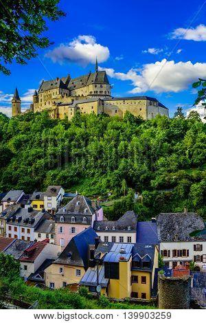 Vianden castle and Vianden city in Luxembourg