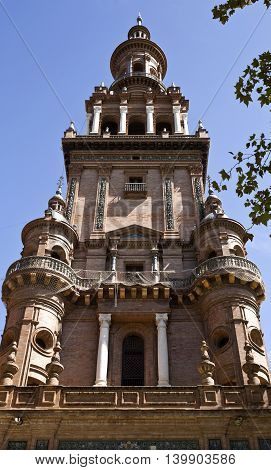 Detail of the northern tower of the Plaza de Espana (Spain Square) in Seville Spain