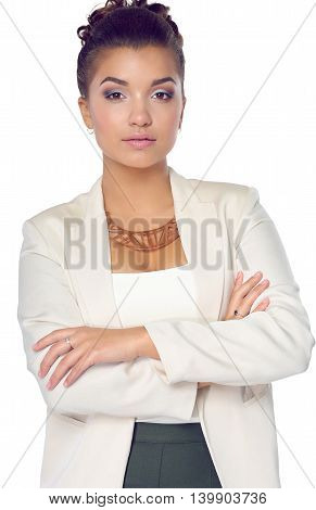 Young woman standing, isolated on white background.
