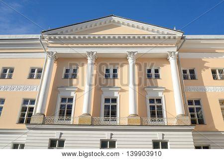 Building of Tsarskoye Selo Lyceum in Pushkin City suburb of St.Petersburg Russia.