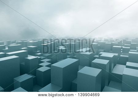 Abstract cubes in fog. 3D Rendering. Close up.