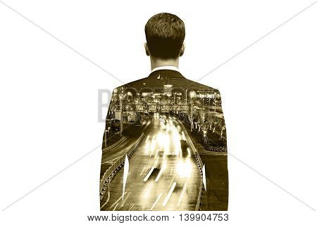 Thoughtful businessman on city road background. Double exposure