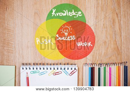 Recipe for success. Top view of wooden office desktop with stationery items and chart sketch
