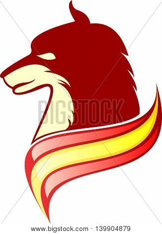 red wild wolf head with flag logo illustration