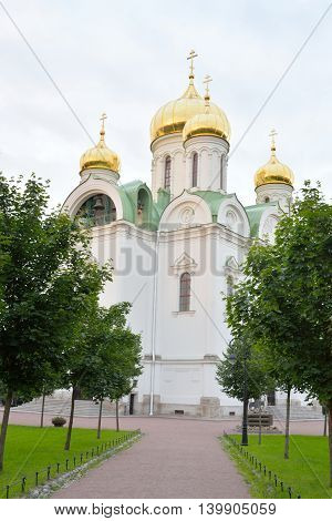 Cathedral of St. Catherine in Tsarskoye Selo at evening suburb of St.Petersburg Russia.