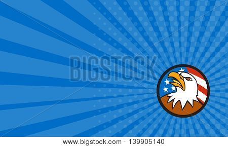 Business card showing illustration of an american bald eagle head looking up viewed from side set inside circle with usa flag stars and stripes in the background done in cartoon style.