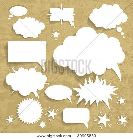 Cardboard Structure With Paper Speech Bubble, Vector Illustration. Grunge brown background