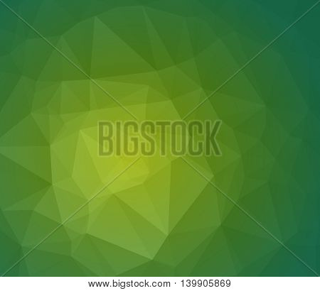 Green abstract polygonal background with geometric texture. Vector wallpaper. Eco background