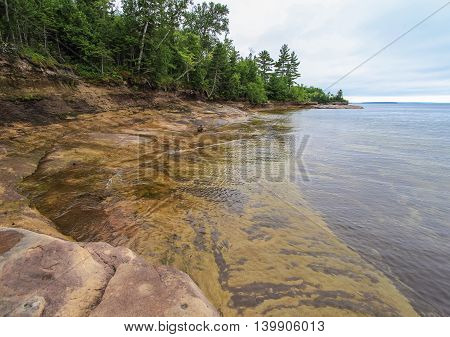 Beautiful Lake Superior Lagoon. Peaceful and wild Lake Superior beach in Michigan's Upper Peninsula.
