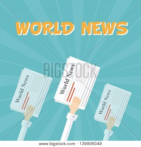 World News. Outstretched hand with news papers. The financial and economic news. Background in cartoon style. Light rays. Flat vector illustration