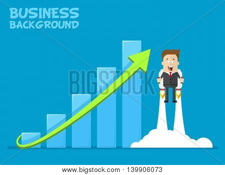 Happy businessman or manager flying on jetpacks to his goal. The growth of the economy. Investments up. A man in a business suit with a tie flying up. Vector cartoon illustration of a plane