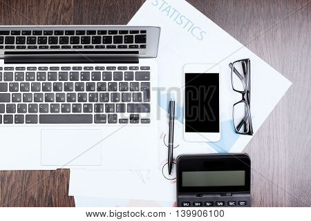 Accountant's Desktop With Electronic Devices