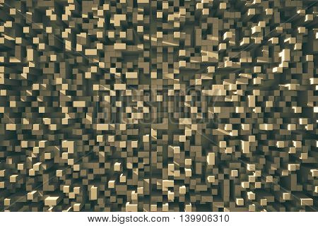 Abstract brown cube background. 3D Rendering. Close up.