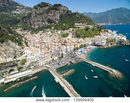 Aerial View of Amalfi in Amalfi Coast, Italy