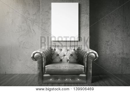 Luxurious black leather armchair and blank poster in room with dark concrete wall and wooden floor. Mock up 3D Rendering