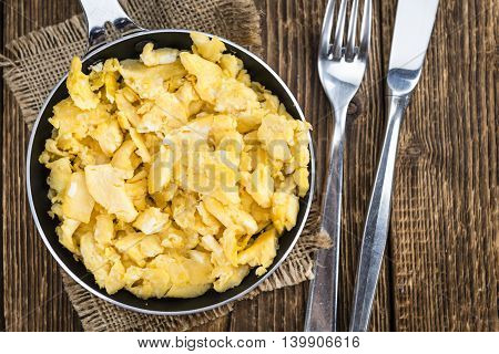 Scrambled Eggs In A Pan (selective Focus)
