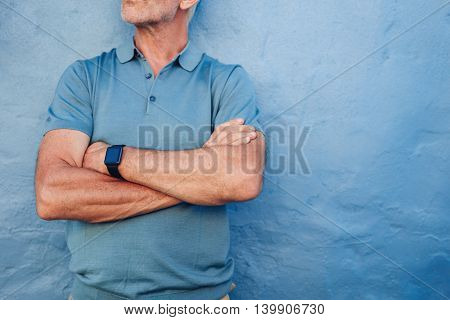 Mature Man Wearing Smart Watch