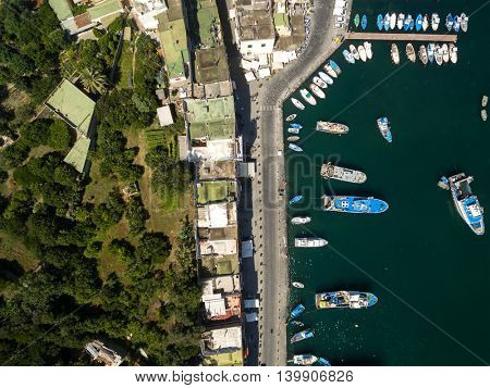 Top view of Boats in Procida, Italy