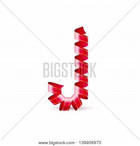 Letter J made of red curled shiny ribbon