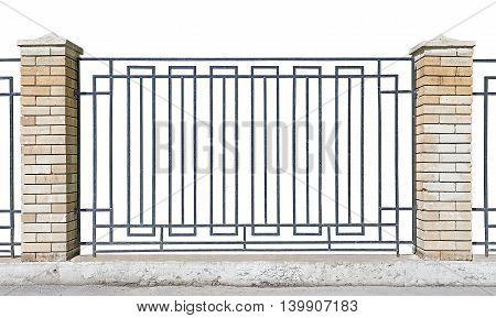 metal fence with brick pillars White background