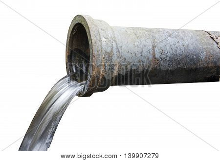 water drainage , drainage pipe with running water isolated background