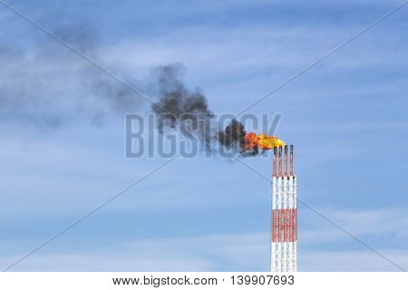 the smoke and fire from the chimneys in the sky