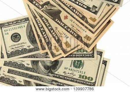 White background with money American dollar bills
