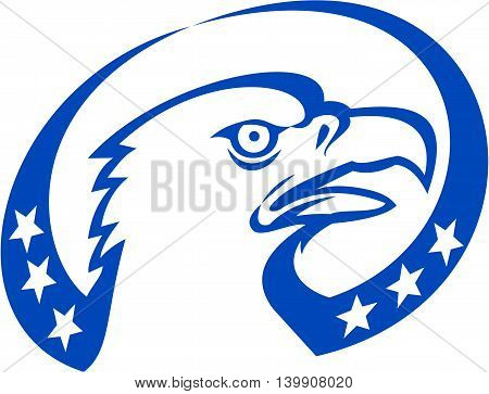 Illustration of an american bald eagle head looking up to the side with stars done in retro style.