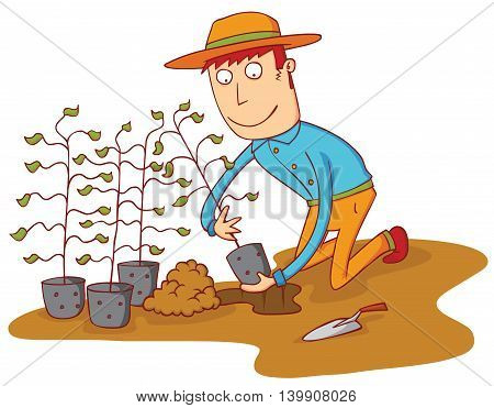 illustration of a man growing some plants as conservation