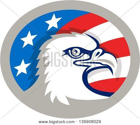 Illustration of an american bald eagle head viewed from the side with usa american stars and stripes flag in the background set inside oval shape done in retro style.
